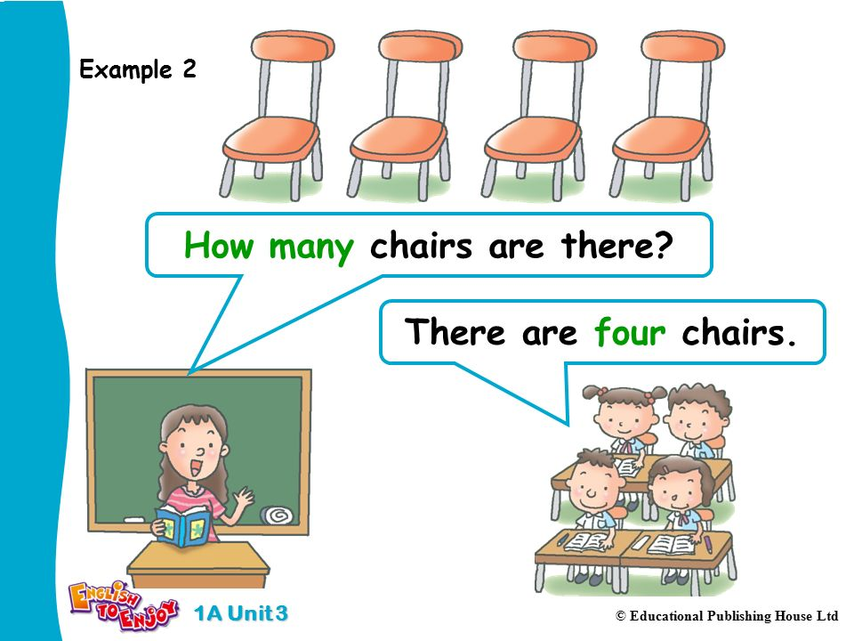 1A Unit 3 © Educational Publishing House Ltd There are four chairs.