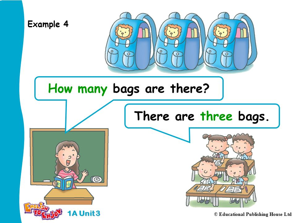 1A Unit 3 © Educational Publishing House Ltd There are three bags.