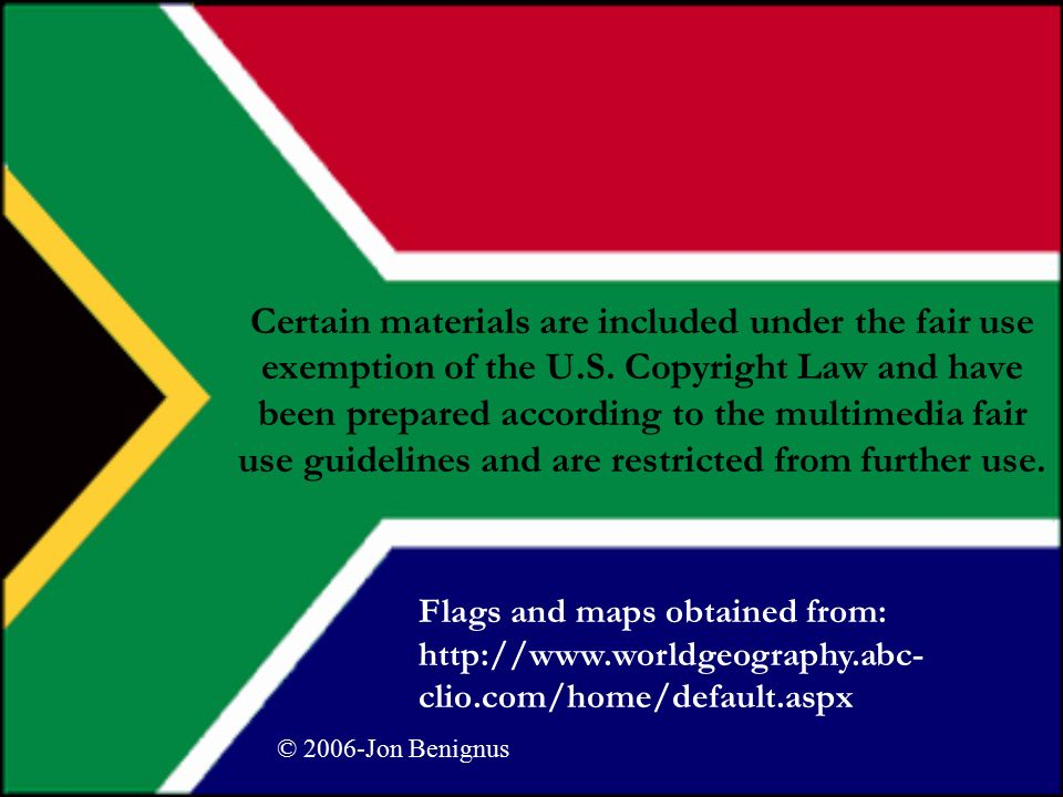 South Africa And the legacy of Apartheid  Certain materials