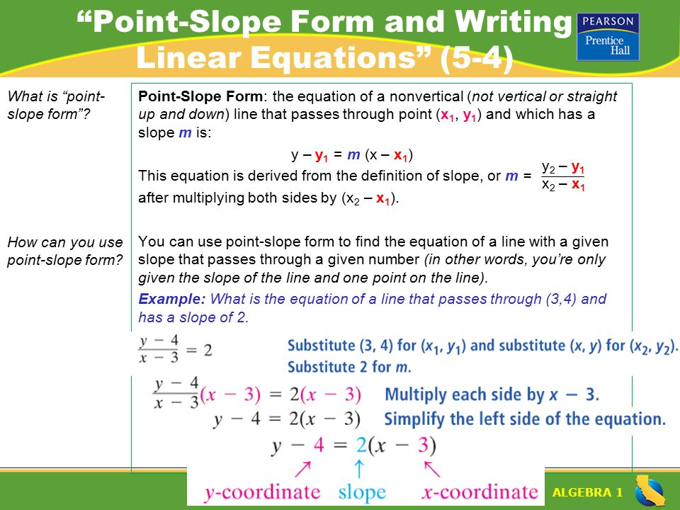 Algebra 1 Lesson 5 4 Warm Up Algebra 1 Point Slope Form And