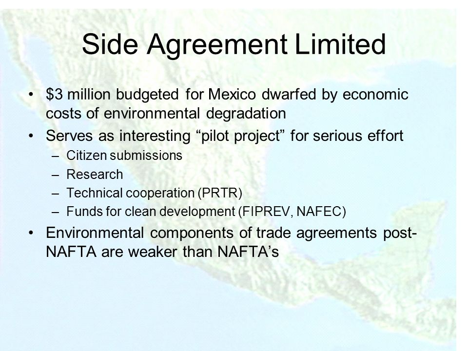 nafta and the enforcement of environmental Generally, international environmental requirements come up in relation to department of defense (dod) facilities a combination of international treaties, dod policy, agreements between the us and the host nation, and any applicable us laws and executive orders (eos) govern environmental.
