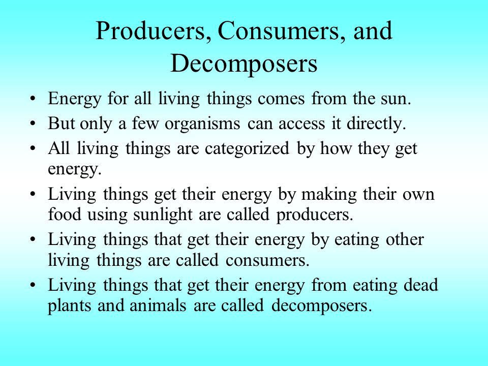 Producers, Consumers, and Decomposers Energy for all living things comes from the sun.