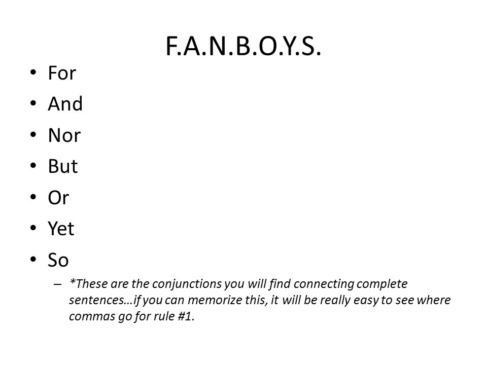 3 fanboys for and nor but