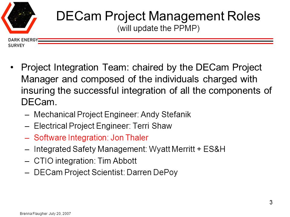 Brenna Flaugher July 20, DECam Project Summary Outline -WBS 1.1 Management -WBS 1.2 Focal Plan Detectors -WBS 1.3 Front End Electronics -WBS ppt download - 웹