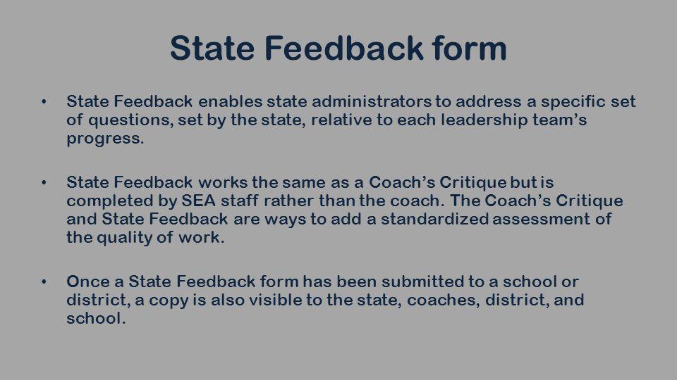 Coach Feedback Form | Indistar Tools For Providing State Feedback State Feedback Form