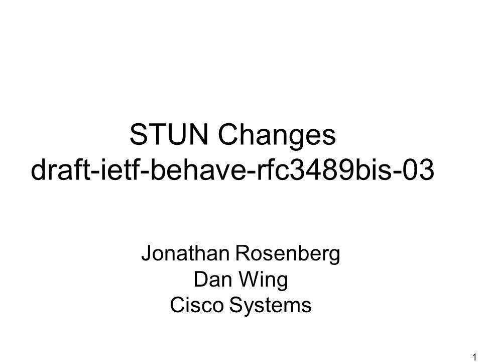 1 STUN Changes draft-ietf-behave-rfc3489bis-03 Jonathan Rosenberg