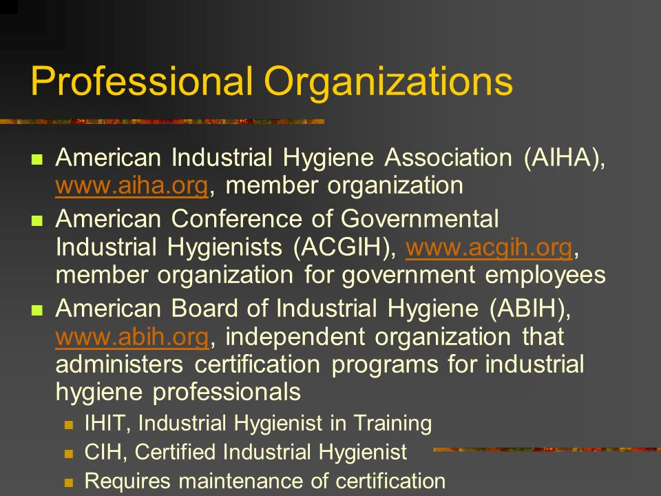 Introduction To Industrial Hygiene Industrial Hygiene Part Science