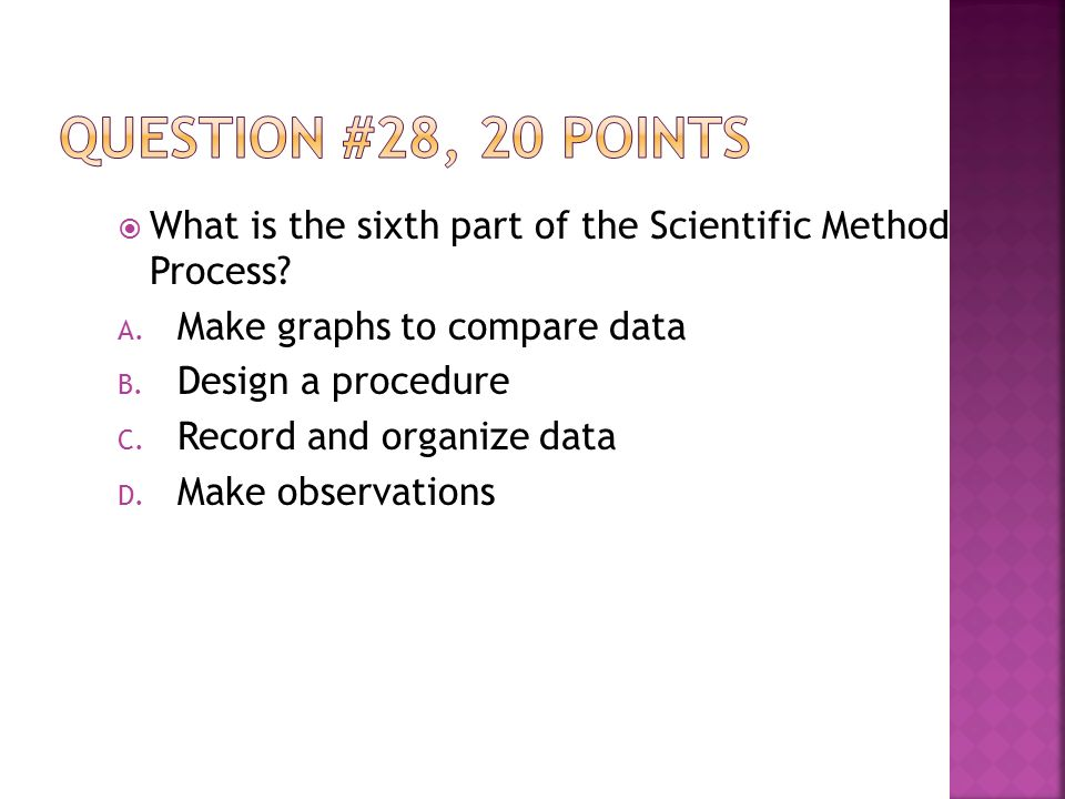  What is the sixth part of the Scientific Method Process.