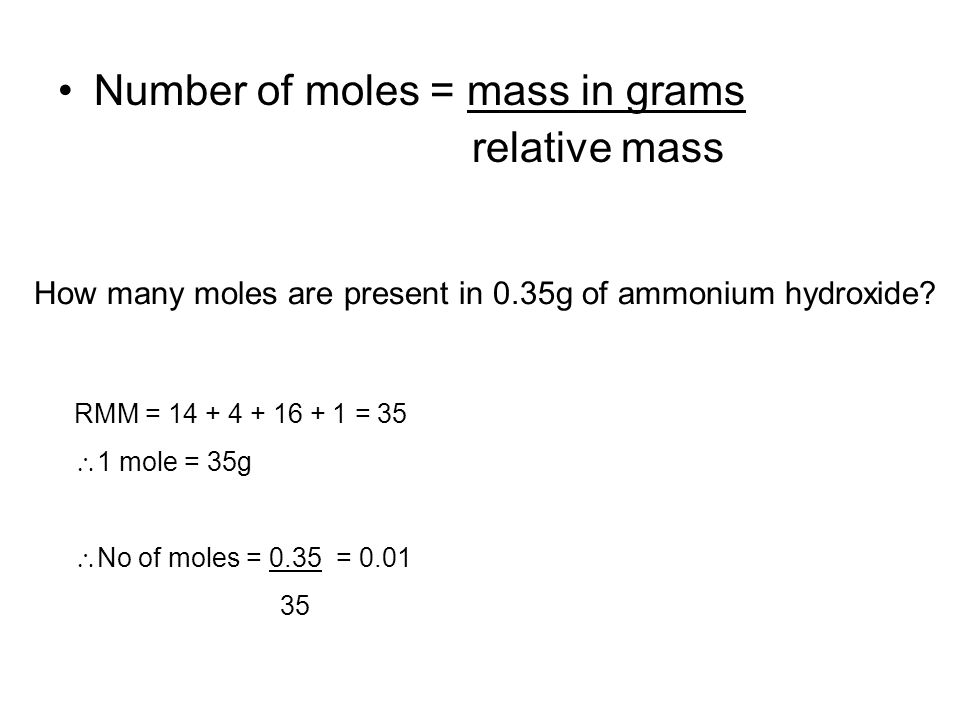 7 The Mole Number Of Moles Mass In Grams Relative Mass How Many