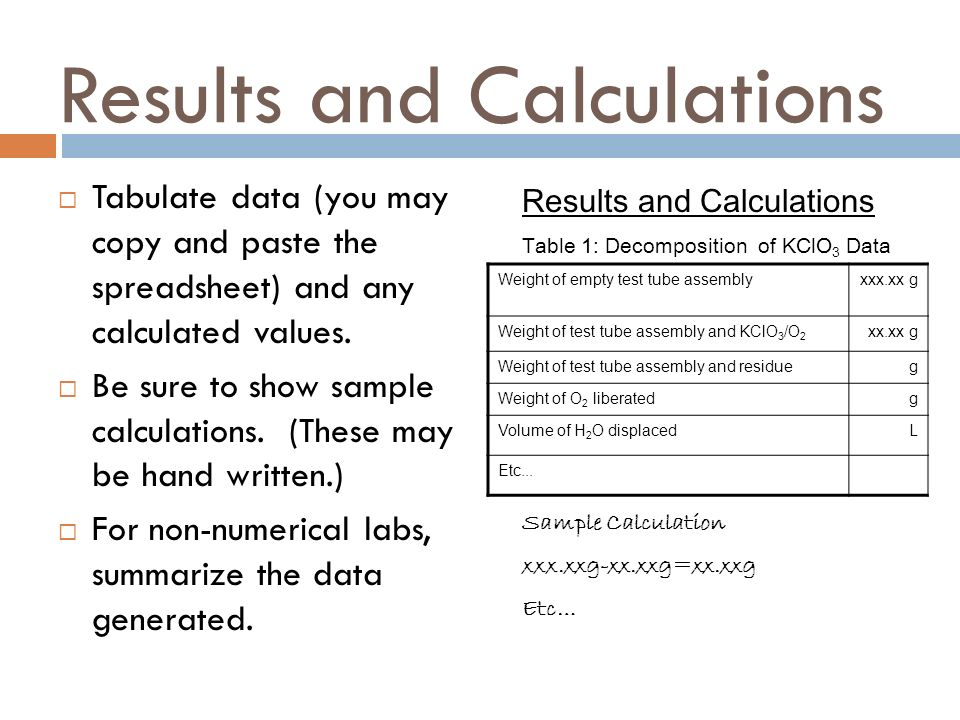 Results and Calculations  Tabulate data (you may copy and paste the spreadsheet) and any calculated values.