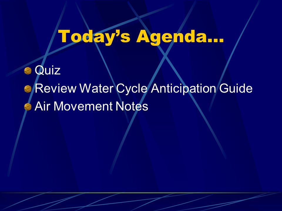Today's Agenda… Quiz Review Water Cycle Anticipation Guide Air Movement Notes
