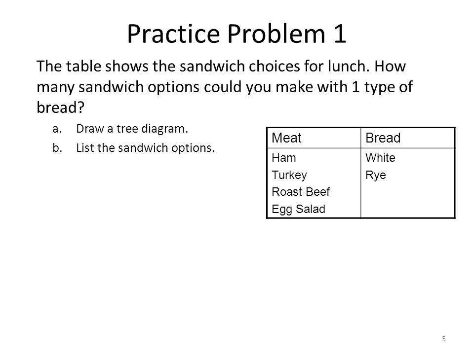 1 tree diagrams 2 a tree diagram is an organized list that can help 5 practice problem 1 the table shows the sandwich choices for lunch ccuart Images