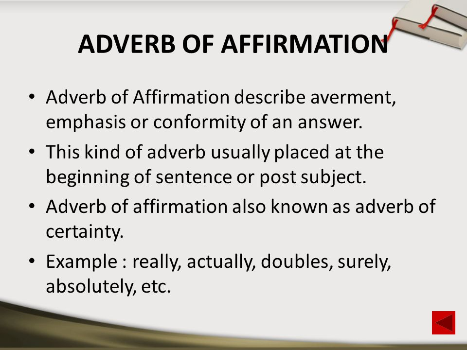 Adverb Of Affirmation Examples Sentences Gallery Example Cover