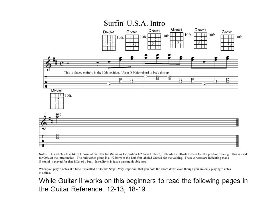 Surfin\' USA. You will see many songs written out this way. The ...