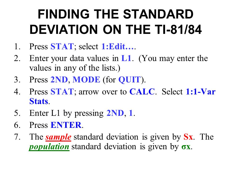 Standard deviation on ti-84 youtube.