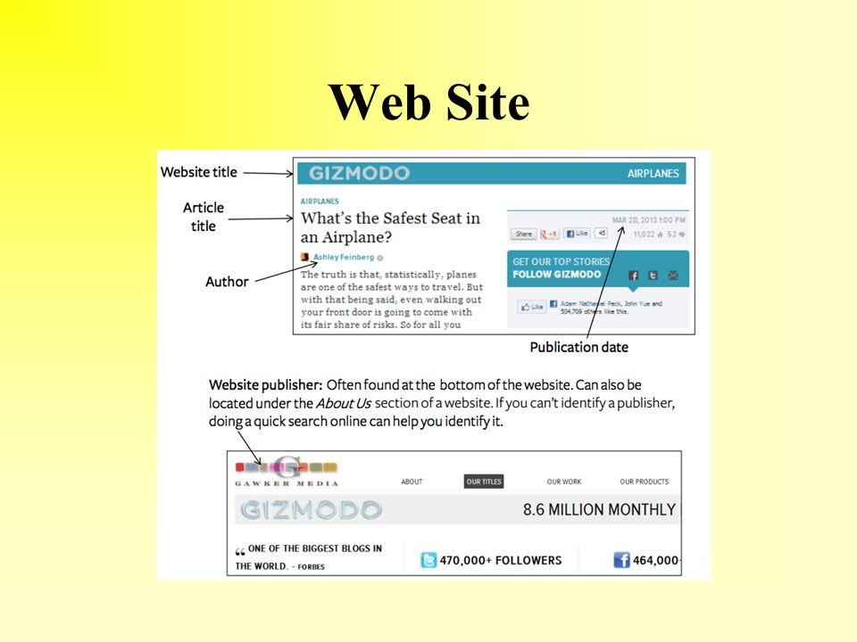 work cited for websites
