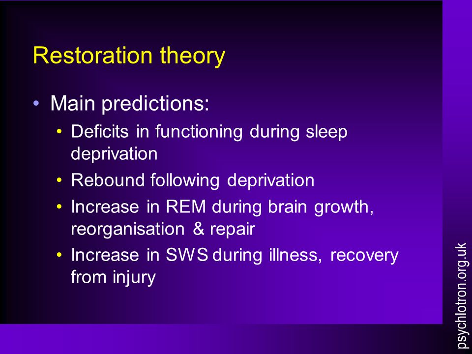 oswalds theory of the restoration of sleep function Several studies have shown how sleep facilitates long-term memory processing, both the conversion of short-term memories into long-term ones, and also the reconsolidation of existing long-term memories.