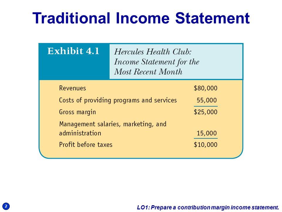 beau 2 2 Traditional Income Statement LO1: Prepare a contribution margin income  statement.