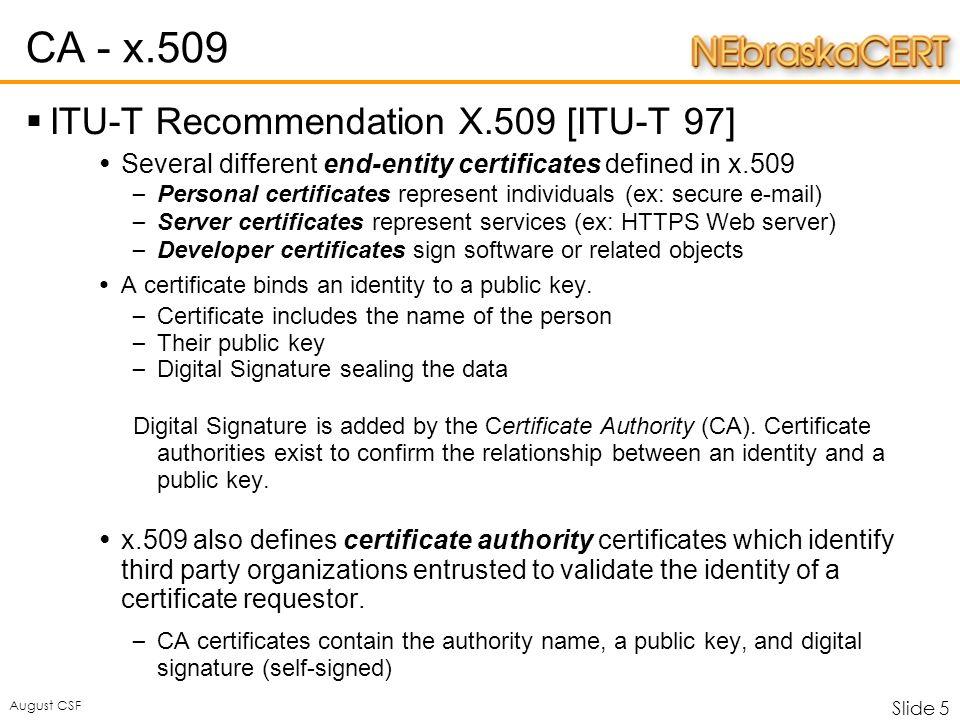 Slide 1 August Csf Nebraskacert Certificate Authority Matthew G