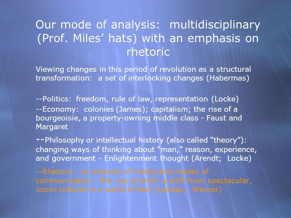 Our mode of analysis: multidisciplinary (Prof.