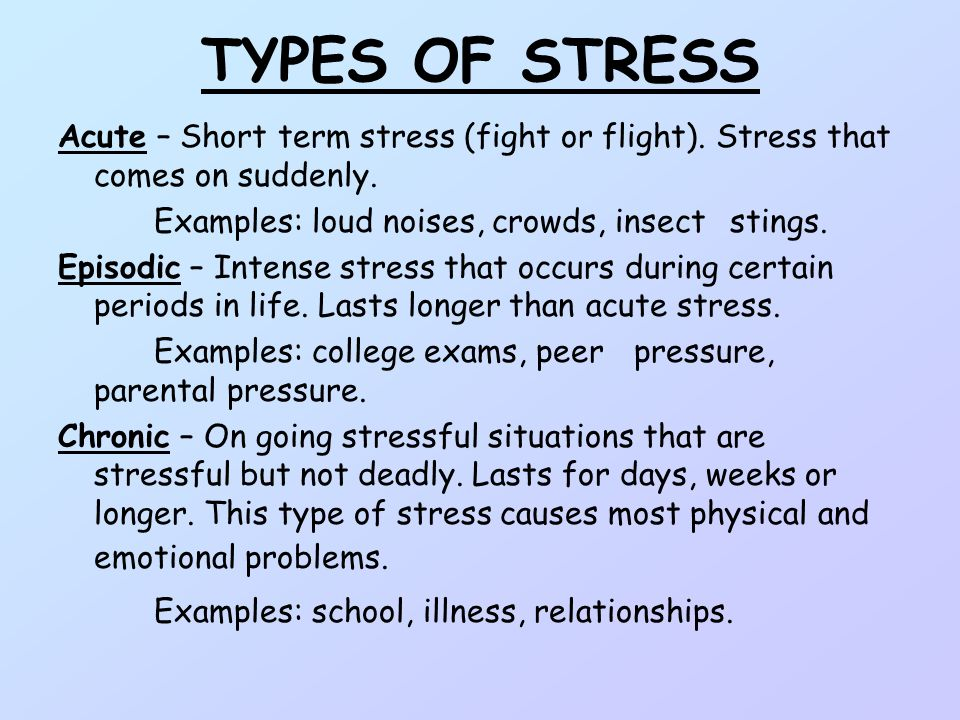 examples of physical stress Paradoxically, the stress caused by health worries can itself lead to problems and the body's reaction to stress, general adaptation syndrome, can have physical effects as we deplete our energy reserves to cope with a stressful situation.
