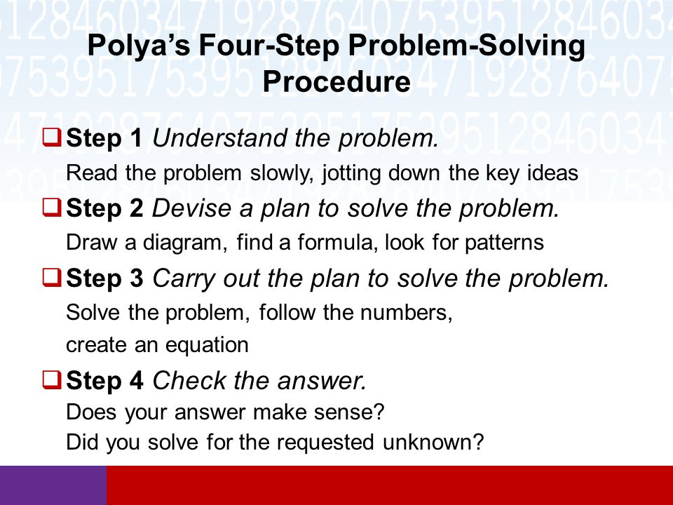 polyas 4 step problem solving process