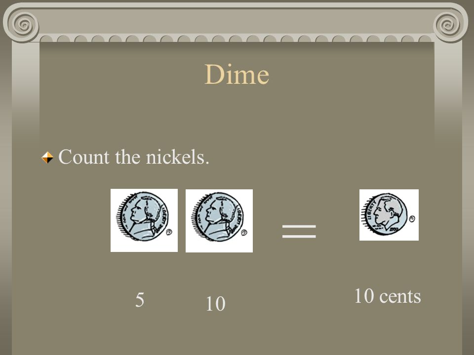 Dime Two nickels also equal one dime. =