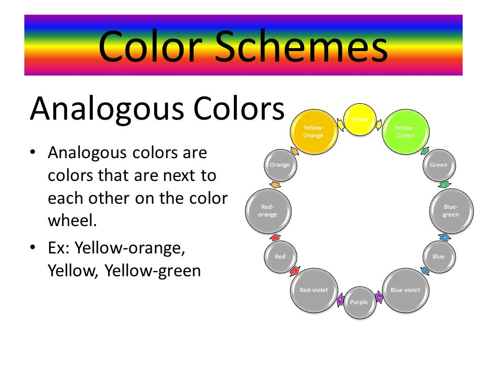 Color Schemes Analogous colors are colors that are next to each other on the color wheel.