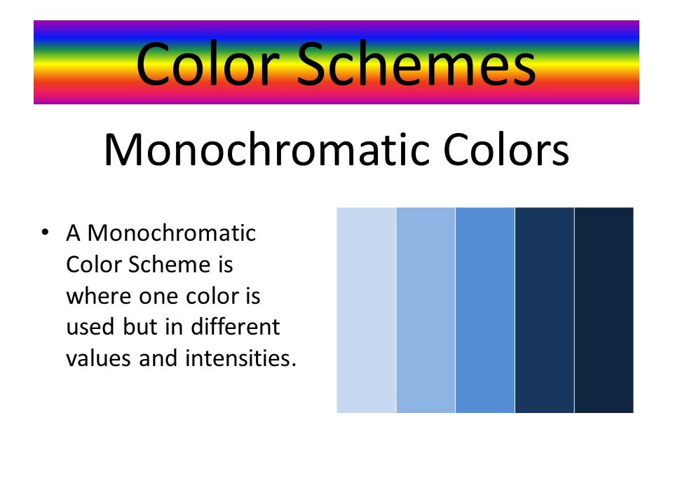 Color Schemes A Monochromatic Color Scheme is where one color is used but in different values and intensities.