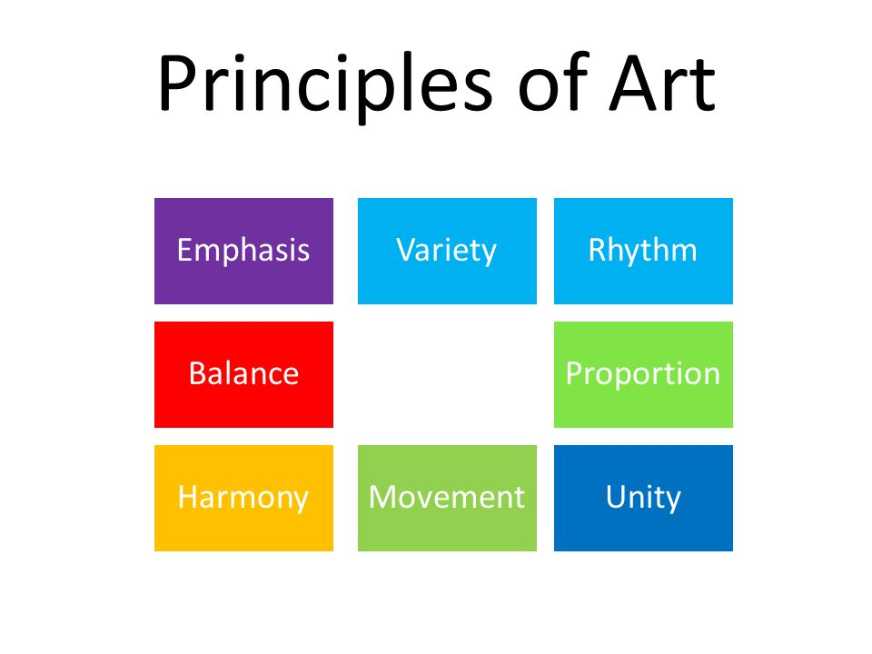 Principles of Art Balance Harmony Emphasis Movement Proportion Variety Unity Rhythm