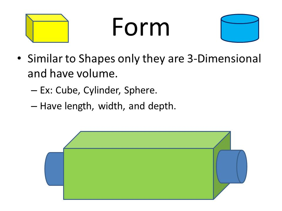 Form Similar to Shapes only they are 3-Dimensional and have volume.