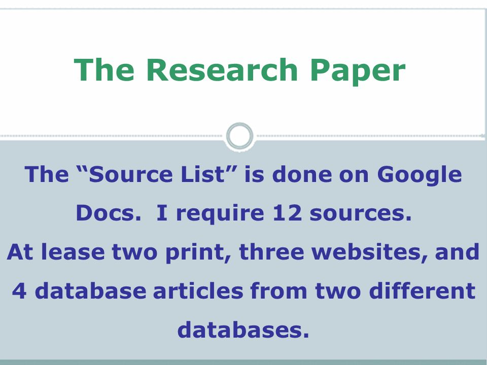 research paper source list Home〉research paper〉research paper sources〉currently viewed by james waters on september 24 2018 05:59:39 the purpose of your title page or heading is to state the name of your paper and include other important information like your name, the instructors name, the name of the class and the date.