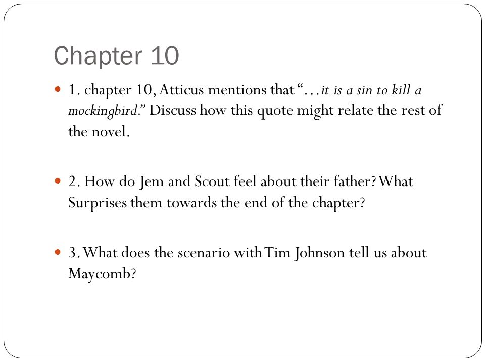 chapter questions for to kill a mockingbird part 1