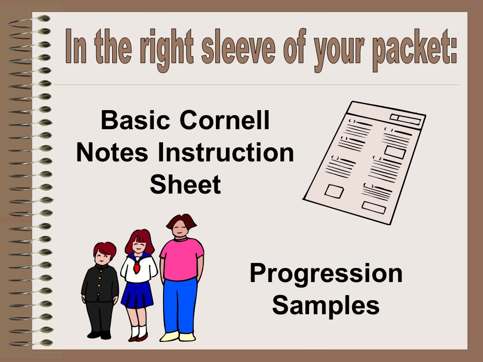 Basic Cornell Notes Instruction Sheet Progression Samples