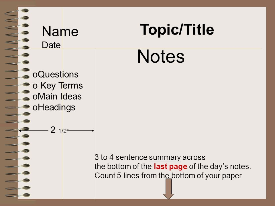 Topic/Title Name Date oQuestions o Key Terms oMain Ideas oHeadings Notes 2 1/2 3 to 4 sentence summary across the bottom of the last page of the day's notes.