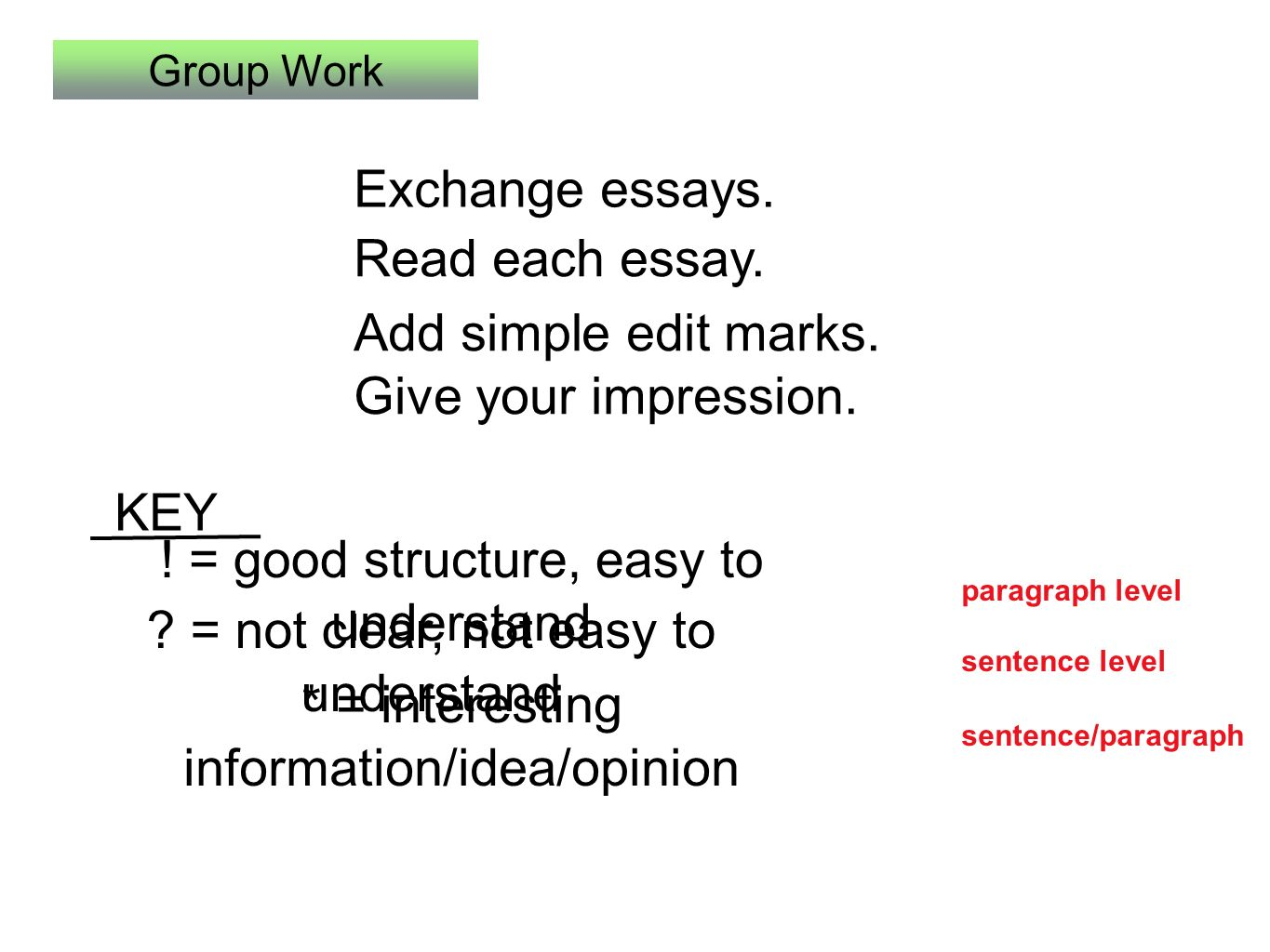Lesson Supporting Paragraphs Todays Class  A Group Work  Essay  Group Work Exchange Essays Add Simple Edit Marks Business Plan Writer Contract also Paraphrasing Website  Critical Essay Thesis Statement