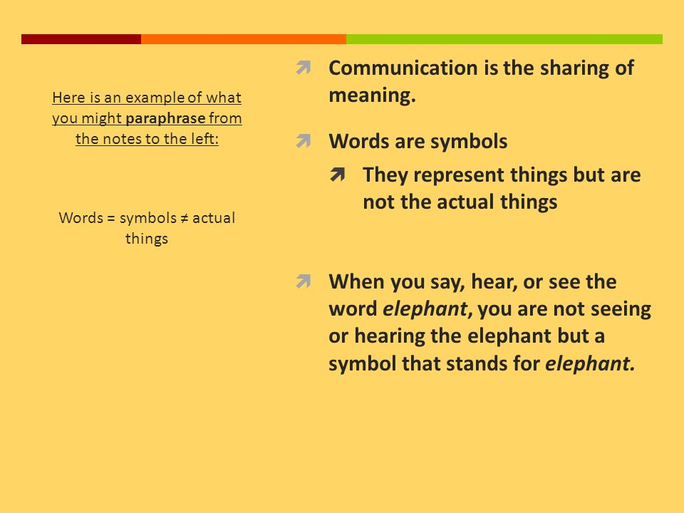 Communication Is The Sharing Of Meaning Words Are Symbols
