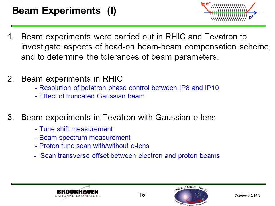 October 4-5, Beam Experiments (I) 1.Beam experiments were carried out in RHIC and Tevatron to investigate aspects of head-on beam-beam compensation scheme, and to determine the tolerances of beam parameters.