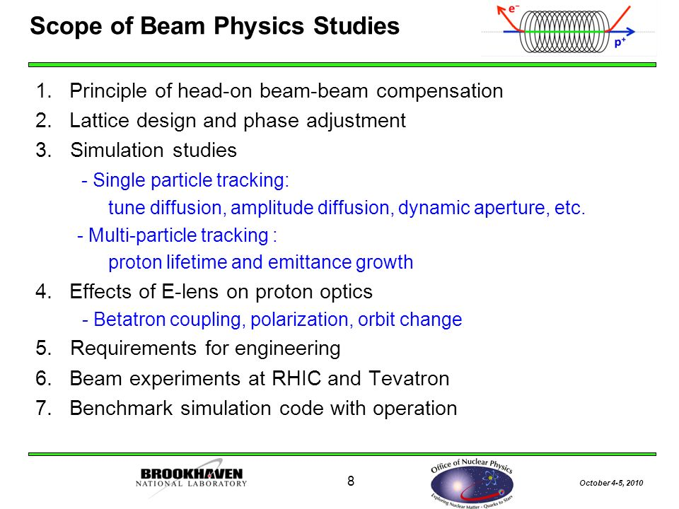 October 4-5, Scope of Beam Physics Studies 1.Principle of head-on beam-beam compensation 2.Lattice design and phase adjustment 3.