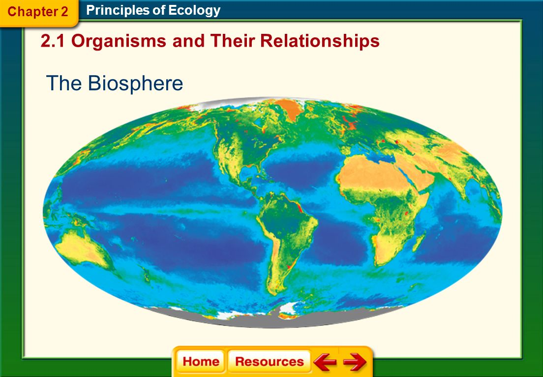 The Biosphere  A thin layer around Earth Principles of Ecology  Extends several kilometers above the Earth's surface  Extends several kilometers below the ocean's surface 2.1 Organisms and Their Relationships Chapter 2