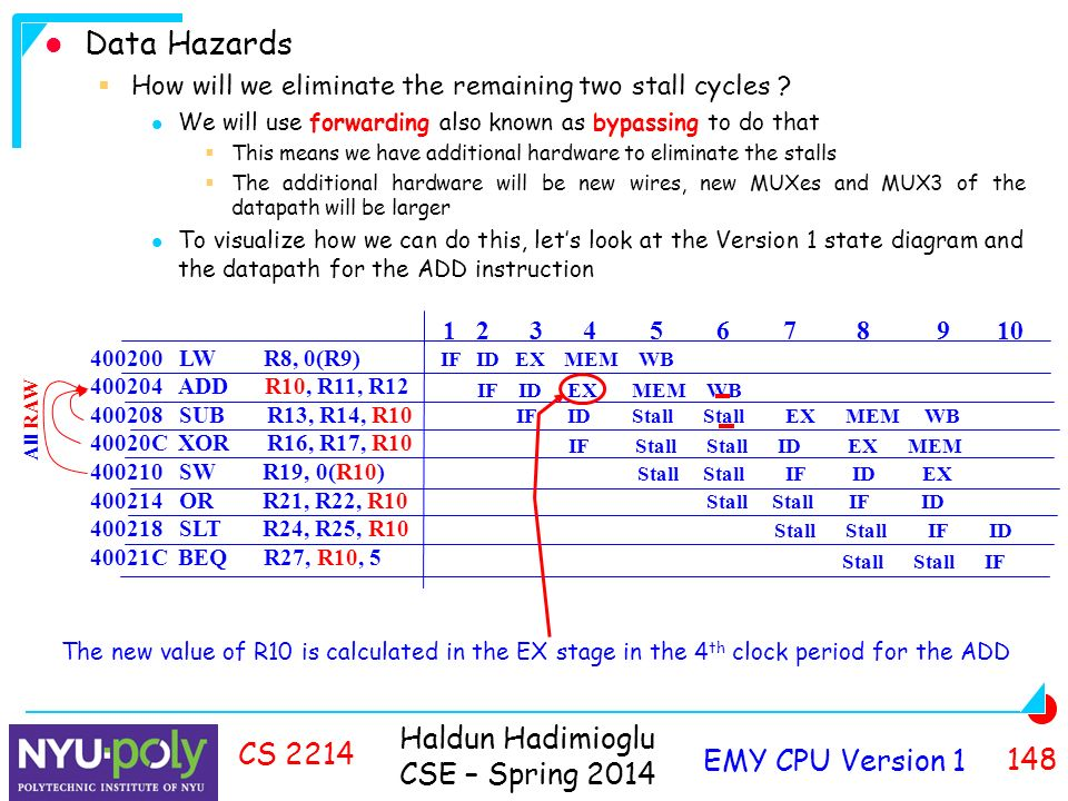Haldun Hadimioglu CSE – Spring 2014 EMY CPU Version CS 2214 Data Hazards  How will we eliminate the remaining two stall cycles .