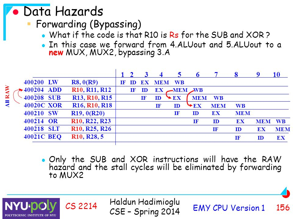 Haldun Hadimioglu CSE – Spring 2014 EMY CPU Version CS 2214 Data Hazards  Forwarding (Bypassing) What if the code is that R10 is Rs for the SUB and XOR .