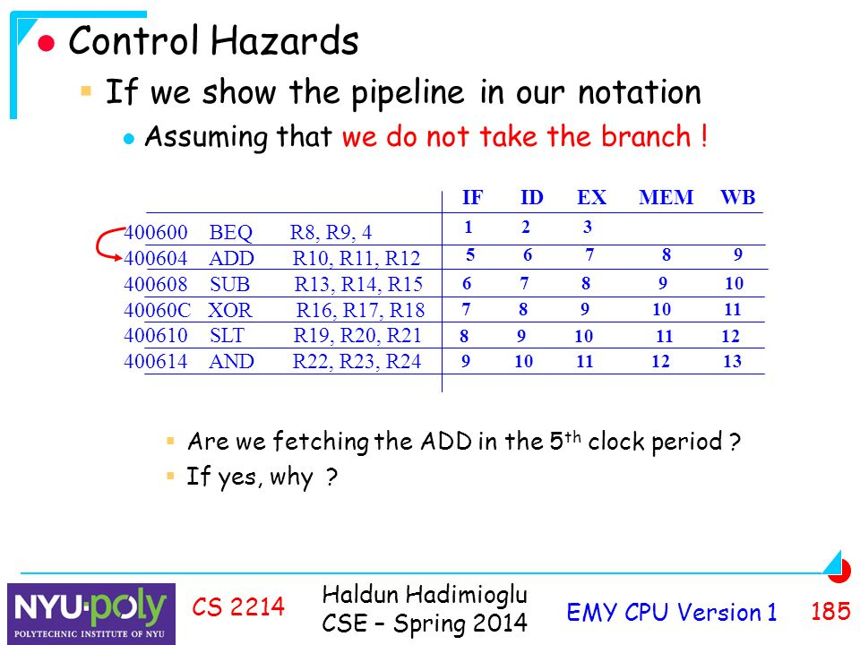 Haldun Hadimioglu CSE – Spring 2014 EMY CPU Version CS 2214 Control Hazards  If we show the pipeline in our notation Assuming that we do not take the branch .