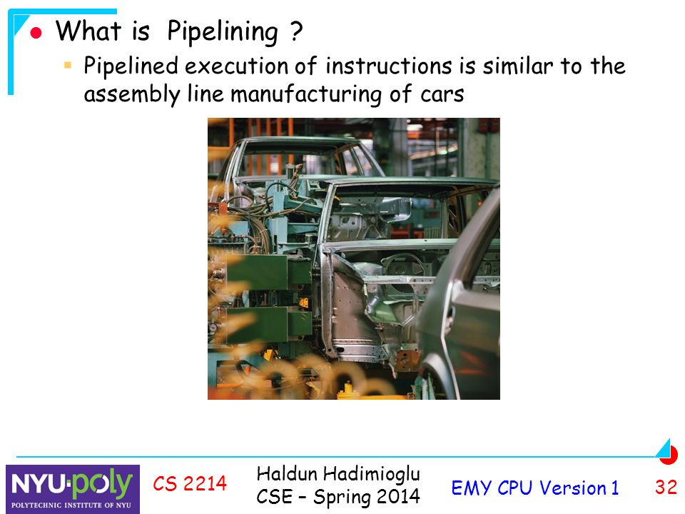 Haldun Hadimioglu CSE – Spring 2014 EMY CPU Version 1 32 CS 2214 What is Pipelining .