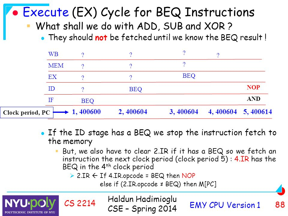Haldun Hadimioglu CSE – Spring 2014 EMY CPU Version 1 88 CS 2214 Execute (EX) Cycle for BEQ Instructions  What shall we do with ADD, SUB and XOR .