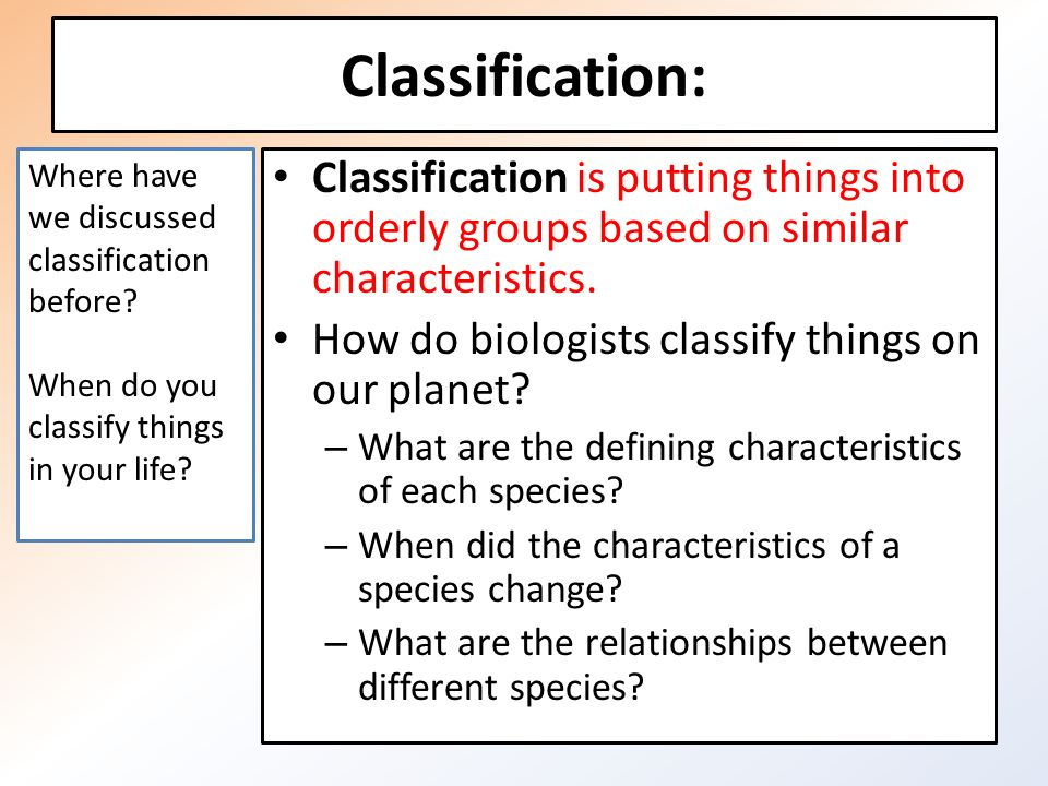 classification of species essay Writing a classification essay a classification essay takes a set of things and breaks it down in one of the ways: parts the essay breaks the topic down into component parts that make the topic whole example: three important parts of a bike are the engine, the suspension, and the body.