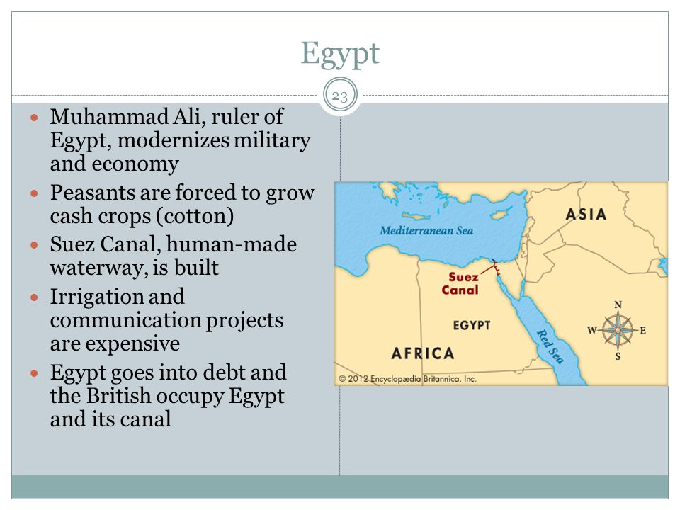 Egypt 23 Muhammad Ali, ruler of Egypt, modernizes military and economy Peasants are forced to grow cash crops (cotton) Suez Canal, human-made waterway, is built Irrigation and communication projects are expensive Egypt goes into debt and the British occupy Egypt and its canal
