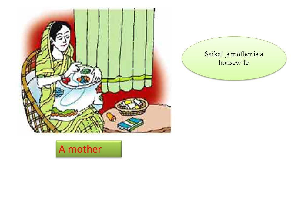 A mother Saikat,s mother is a housewife
