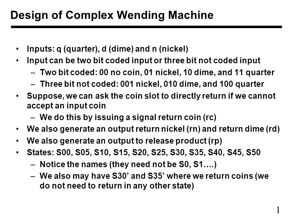1 Inputs Q Quarter D Dime And N Nickel Input Can Be