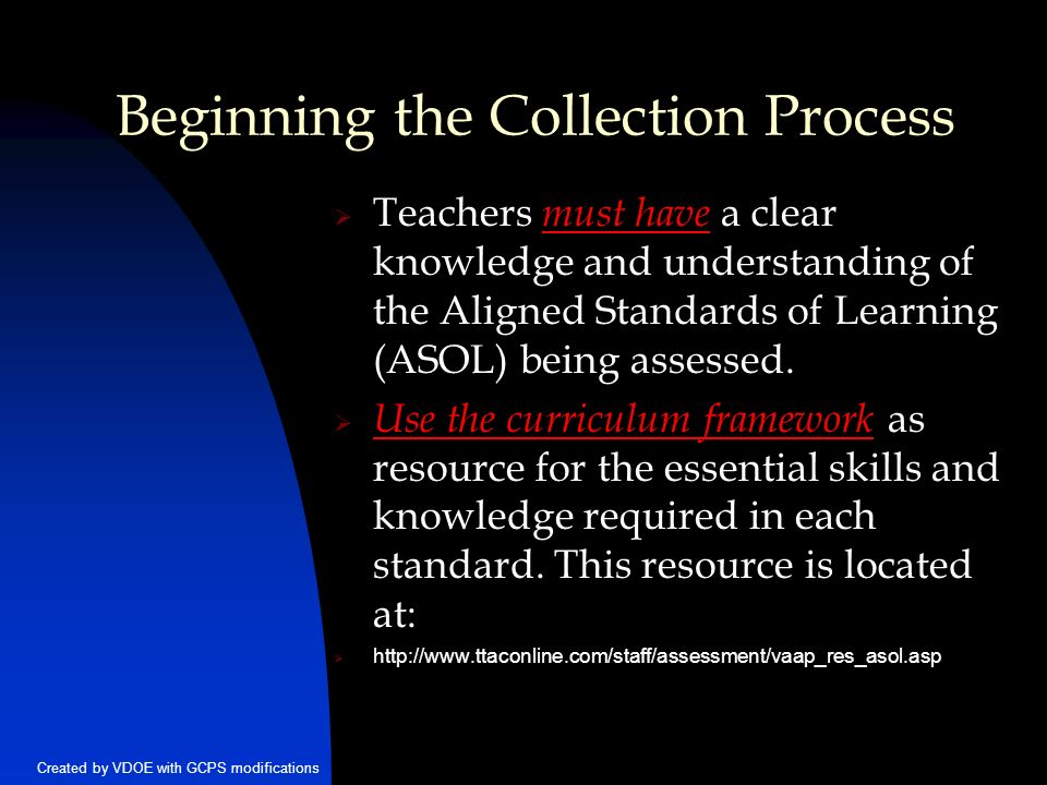 Created By VDOE With GCPS Modifications Beginning The Collection Process Teachers Must Have A Clear